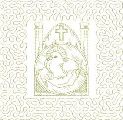 Religious Bird Block embroidery design