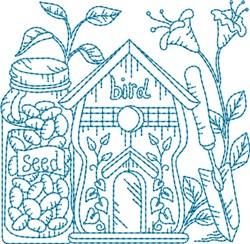 Garden Birdhouse Block embroidery design