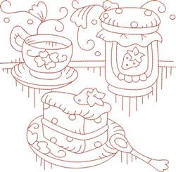 Redwork Teapot & Cake embroidery design