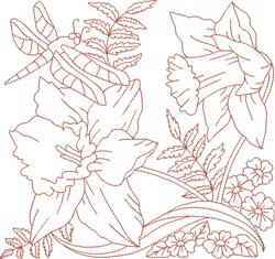 Redwork Dragonfly & Flowers embroidery design