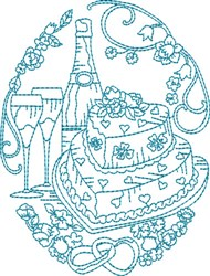 Happy Ever After Bluework Quilt Block embroidery design