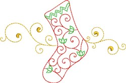 Christmas Swirl Stocking embroidery design