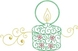 Christmas Glowing Candle embroidery design