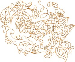 Hen Quilt Square embroidery design