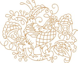 Quilt Block Chicken embroidery design