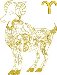 Aries Zodiac Quilt Block embroidery design
