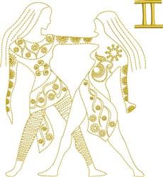 Gemini Zodiac Quilt Block embroidery design