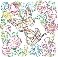 Floral Butterflies Quilt Block embroidery design