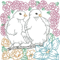 Floral Doves Quilt Block embroidery design