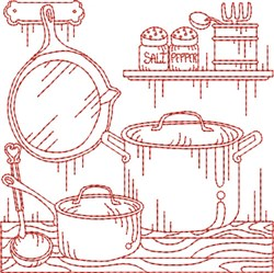 Vintage Cookpot Quilt Block embroidery design
