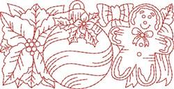 Gingerbread Redwork Border  embroidery design