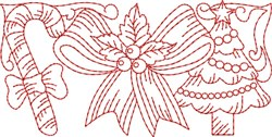Christmas Tree Redwork Border  embroidery design