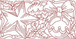 Christmas Ornament Redwork Border  embroidery design