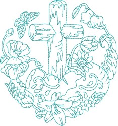Blue Work Cross embroidery design