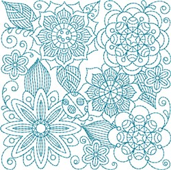 Bluework Floral Quilt Block embroidery design