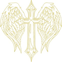 Winged Cross Outline embroidery design
