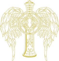 Winged Celtic Cross embroidery design