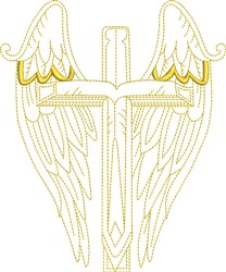 Winged Angel Cross embroidery design