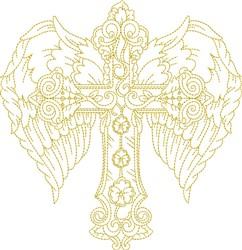 Winged Feather Cross embroidery design
