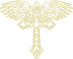 Religious Winged Cross embroidery design