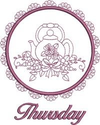 Thursday Tea Towel embroidery design