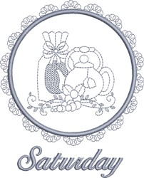 Saturday Tea Towel embroidery design