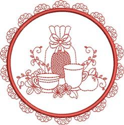 Tea Towel Teacups embroidery design