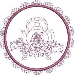 Round Teapot embroidery design