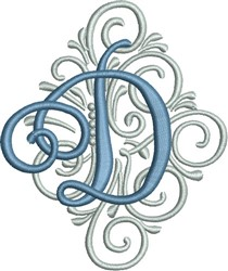 Adorn Monogram D embroidery design