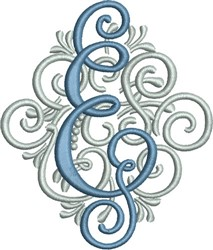 Adorn Monogram E embroidery design