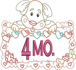 Baby 4 Month Outline embroidery design