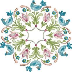 Tulip Bird Circle embroidery design