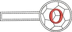 Soccer Key Fob O embroidery design