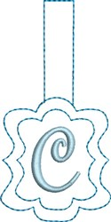 Monogrammed Keyfob Letter C embroidery design