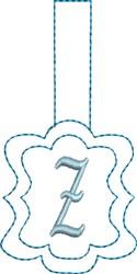 Monogrammed Keyfob Letter Z embroidery design