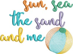 Sun Sea Sand embroidery design