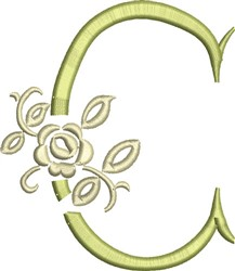 Tuscan Rose Monogram C embroidery design
