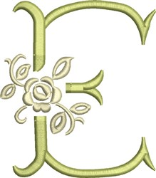 Tuscan Rose Monogram E embroidery design