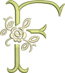 Tuscan Rose Monogram F embroidery design