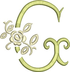 Tuscan Rose Monogram nch G embroidery design