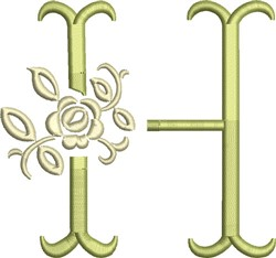 Tuscan Rose Monogram H embroidery design
