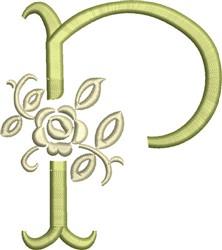 Tuscan Rose Monogram P embroidery design