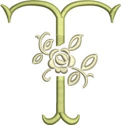 Tuscan Rose Monogram T embroidery design