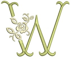 Tuscan Rose Monogram W embroidery design