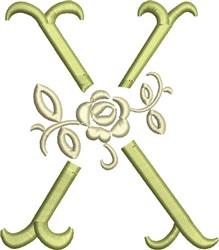 Tuscan Rose Monogram X embroidery design