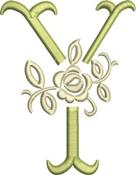 Tuscan Rose Monogram Y embroidery design
