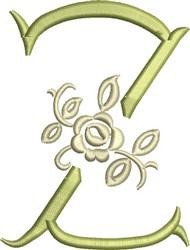 Tuscan Rose Monogram Z embroidery design