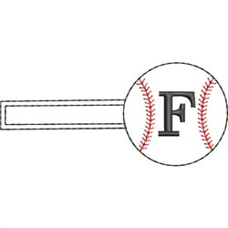 Baseball Key Fob F embroidery design