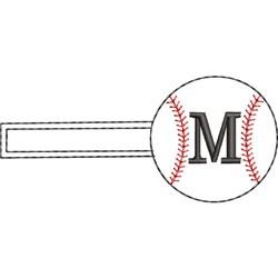 Baseball Key Fob M embroidery design