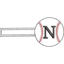 Baseball Key Fob N embroidery design